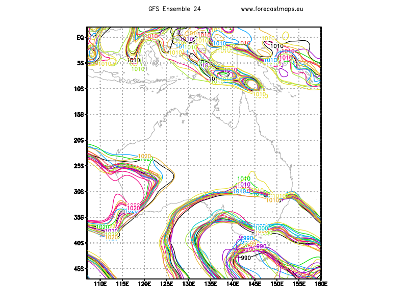 Oceania maps GFS Ensemble