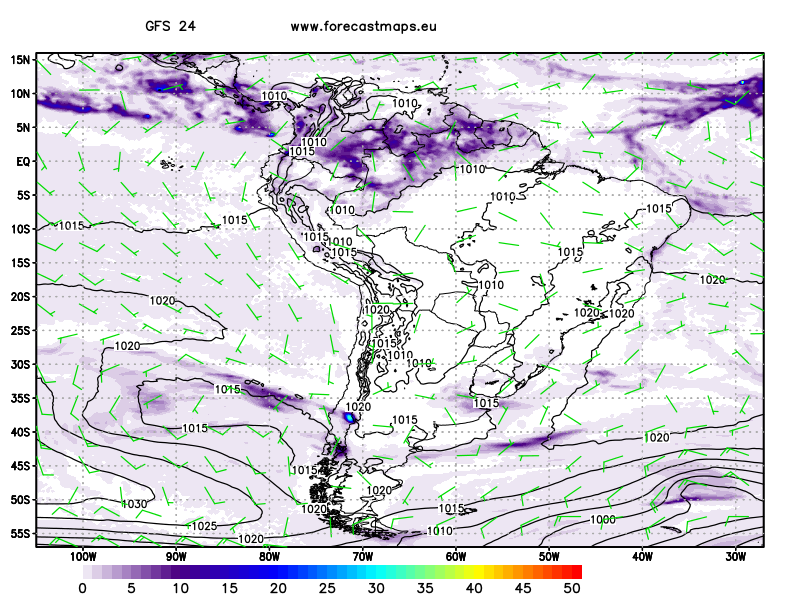 South America maps GFS